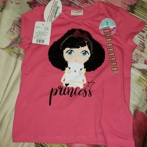 Girls pink tshirt size 5y-6y pink sequins